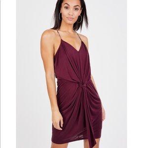 Tart Knotted Mini Burgundy Dress